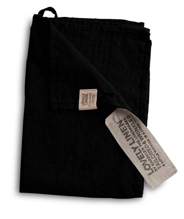 Lovely Linen käsipyyhe musta