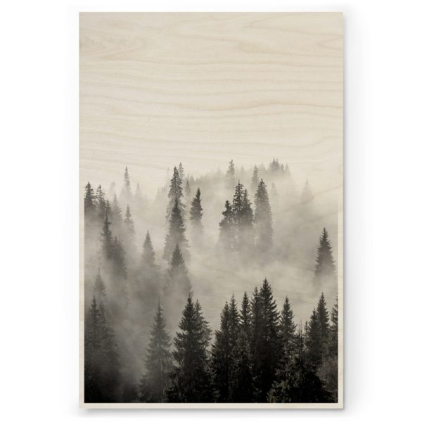 Plywood Print Vanerijuliste Misty Forest 30x40cm